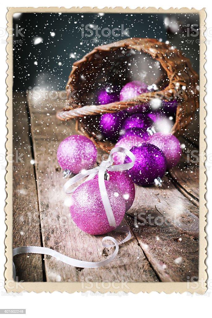 Composition with Brilliant Pink Christmas Balls Lizenzfreies stock-foto