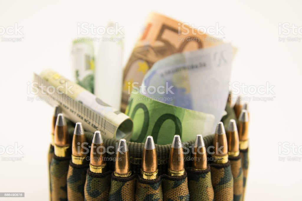 Composition with bullets and euros. stock photo