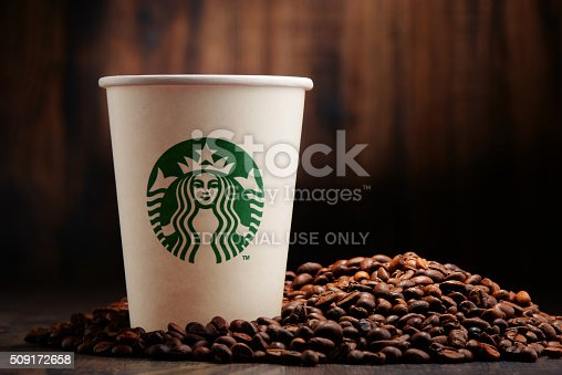 Poznan, Poland - January 29, 2016: Starbucks, coffee company and coffeehouse chain, founded in Seattle, Wa. USA, in 1971; now the largest business of this kind in the world operates 23,450 locations