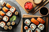 Composition with delicious sushi rolls. Japanese food