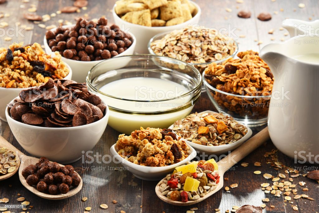Composition with different sorts of breakfast cereal products royalty-free stock photo