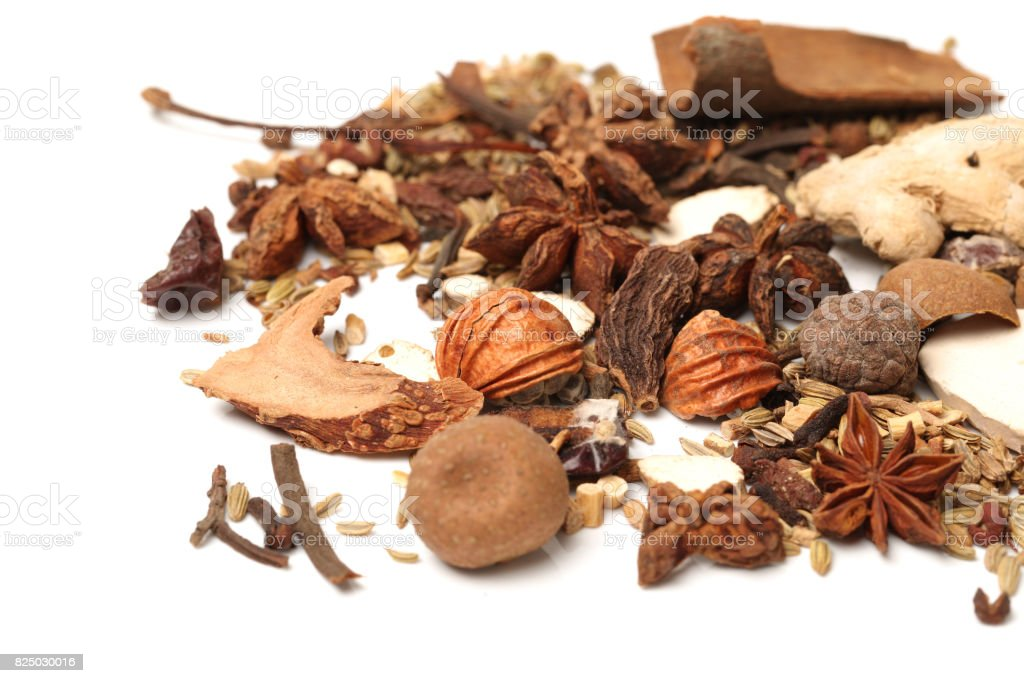 composition with different spices and herbs isolated on white background stock photo