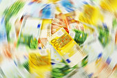 istock Composition with Euro banknotes. Money laundering 455069151