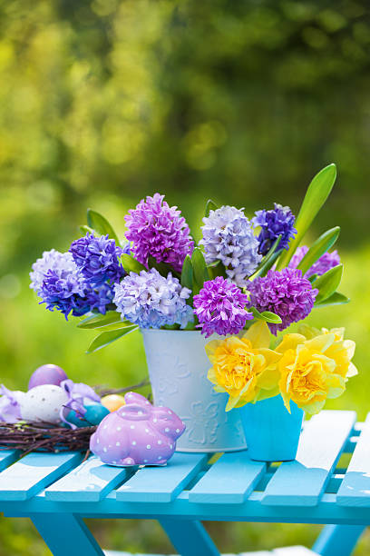 Composition with flowers and easter eggs stock photo
