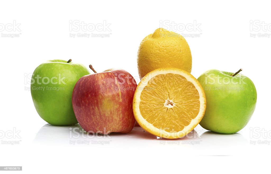 Composition with fruits isolated on a white royalty-free stock photo