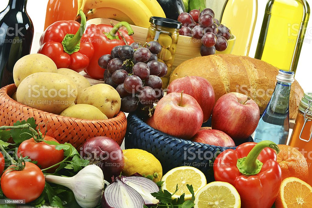 Composition with groceries and basket royalty-free stock photo