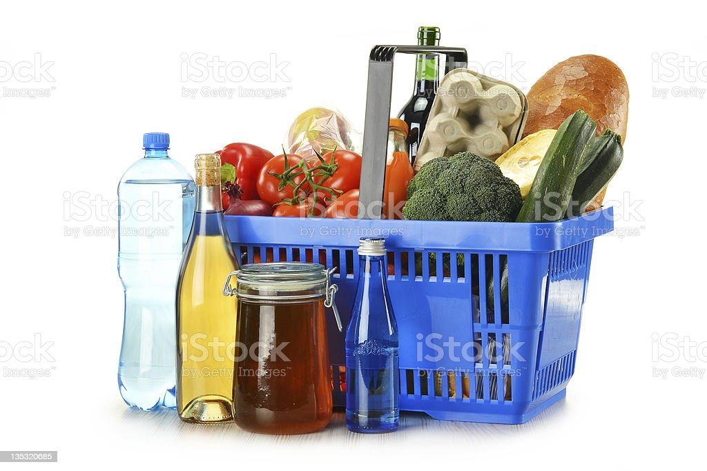 Composition with groceries in shopping basket isolated on white - Royalty-free Alcohol - Drink Stock Photo
