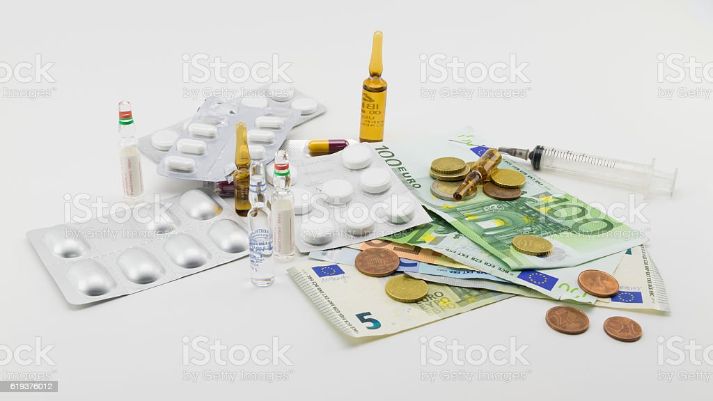 composition with money, bullets, drugs stock photo