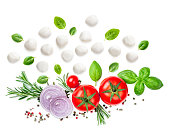 istock Composition with Mozzarella,  basil leaf, rosemary and tomatoes  isolated  on white background. Traditional Italian Mozarella cheese balls close up. Top view 1069219372