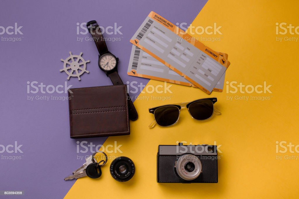 Composition with objects for travelling stock photo