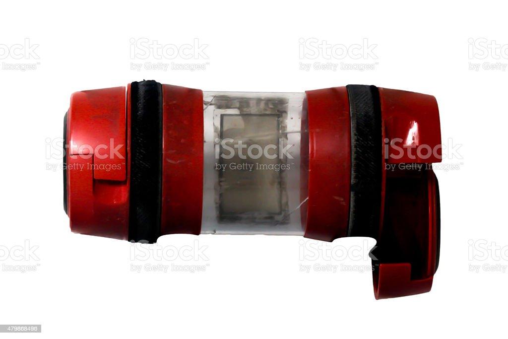 Composição com pílulas, tablet, garrafa de água salgada e Seringa - foto de acervo
