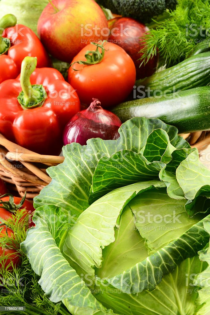 Composition with raw vegetables stock photo