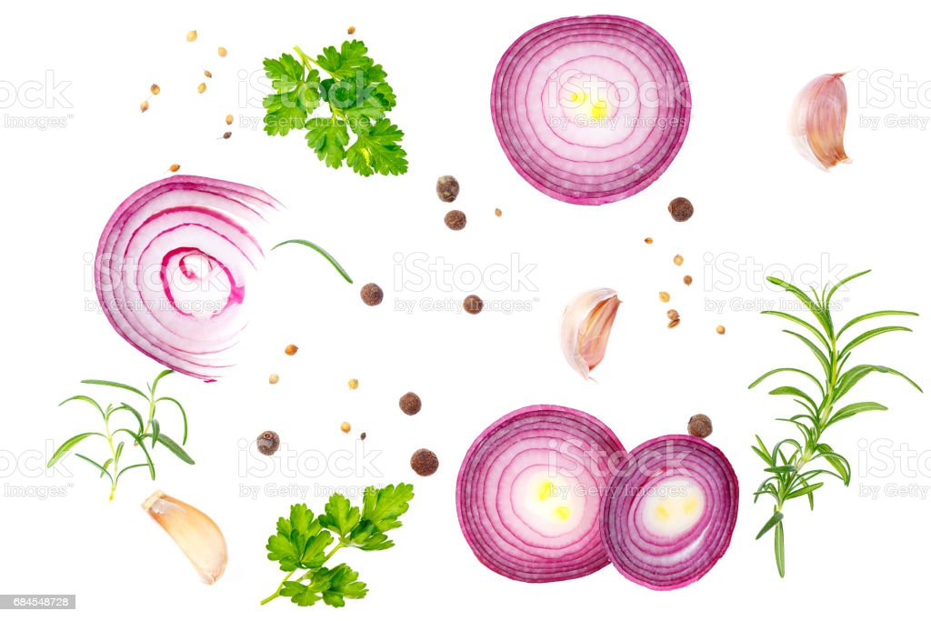 Composition with red onion and spices isolated on white background. stock photo
