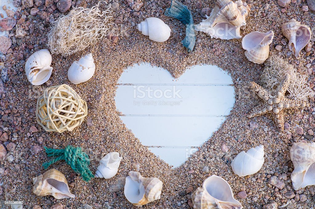 composition with sand and seashell stock photo