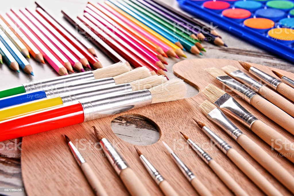 Composition with school accessories for painting and drawing royalty-free stock photo