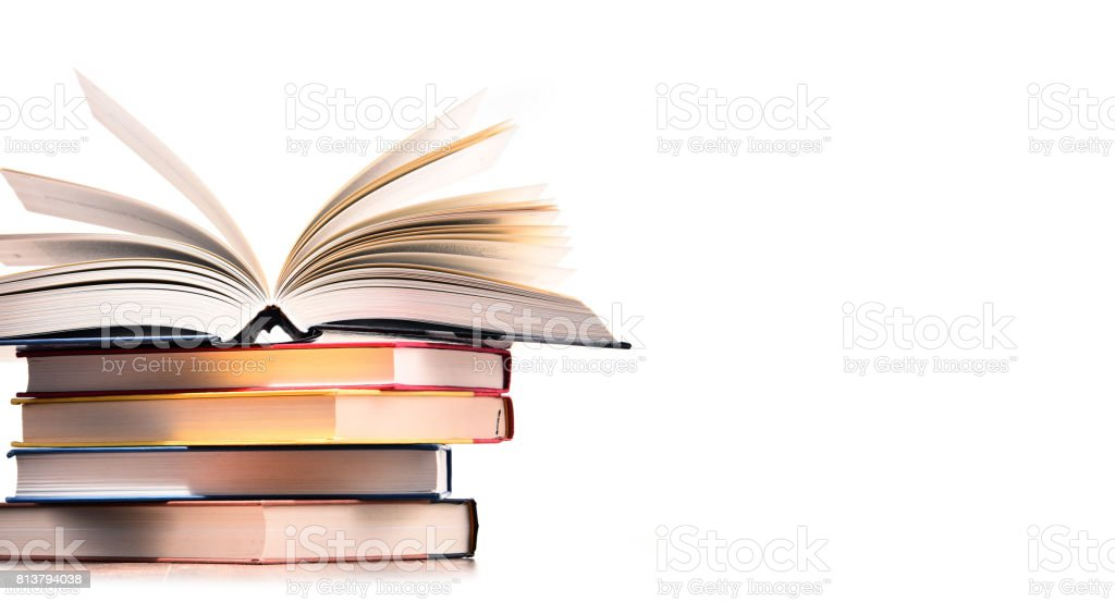 Composition with stack of books isolated on white stock photo