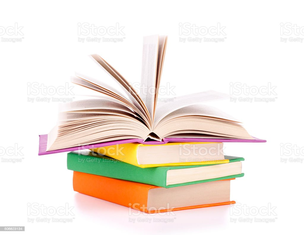 Composition with stack of books on a white stock photo