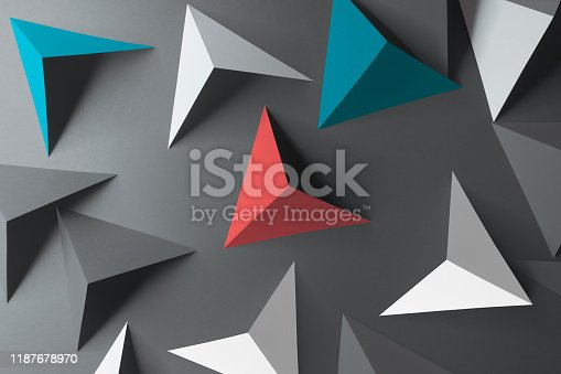 157434064istockphoto Composition with triangular shapes, gray background 1187678970