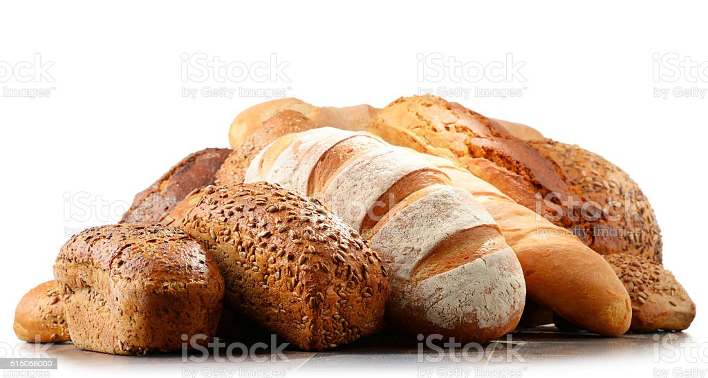Composition with variety of baking products isolated on white stock photo