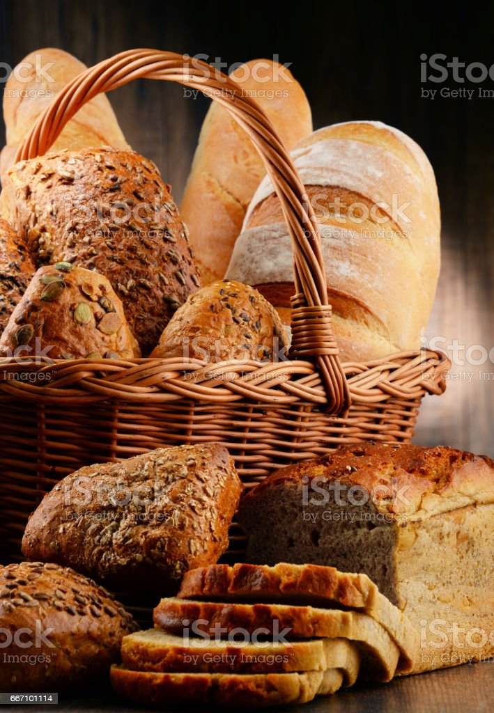 Composition with variety of baking products on wooden table stock photo