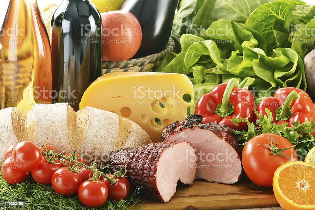 Composition with variety of food products royalty-free stock photo