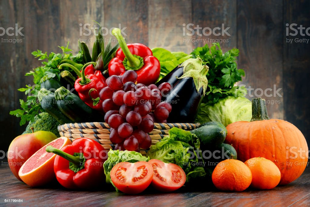Composition with variety of fresh vegetables and fruits stock photo