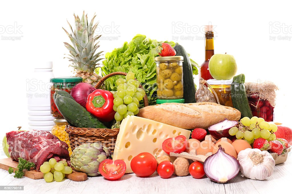 composition with variety of organic food stock photo
