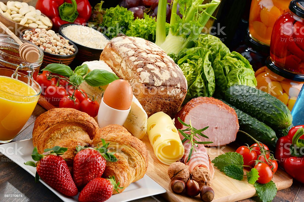Composition with variety of organic food products royalty-free stock photo