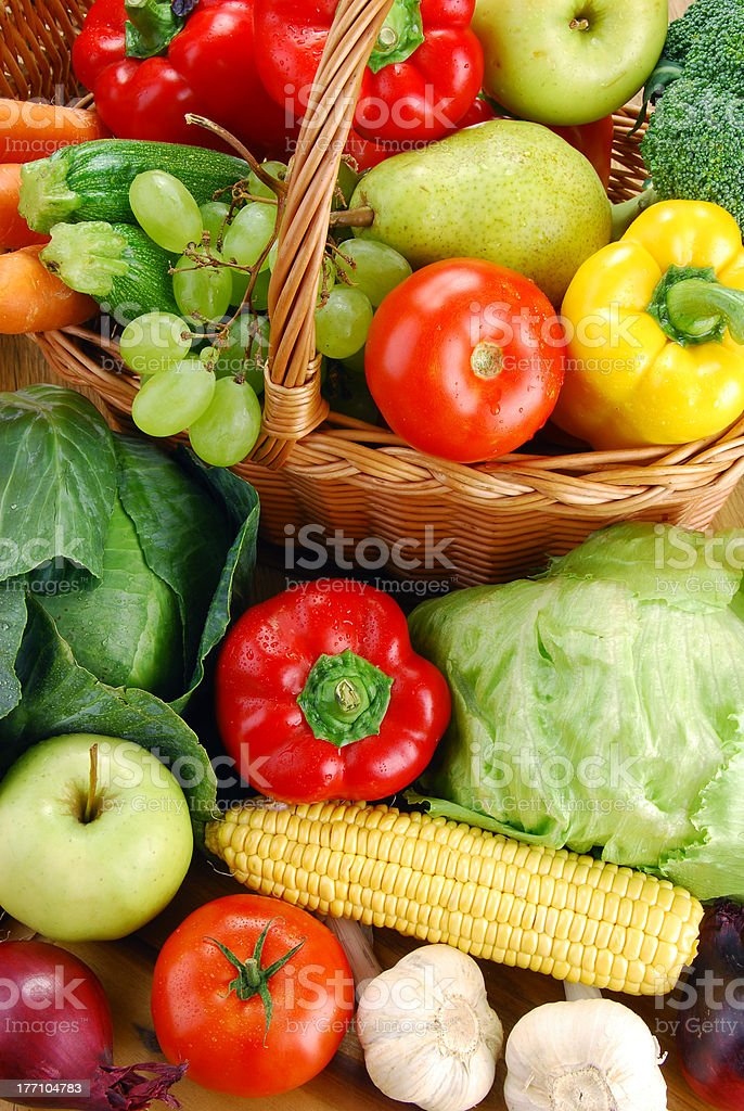 Composition with variety of raw vegetables stock photo