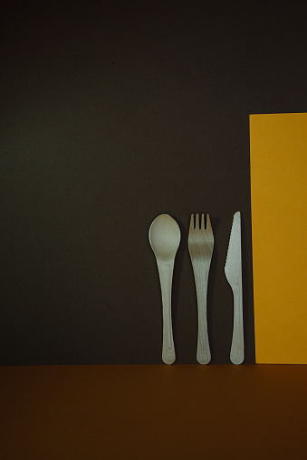 composition wooden spoon and fork background