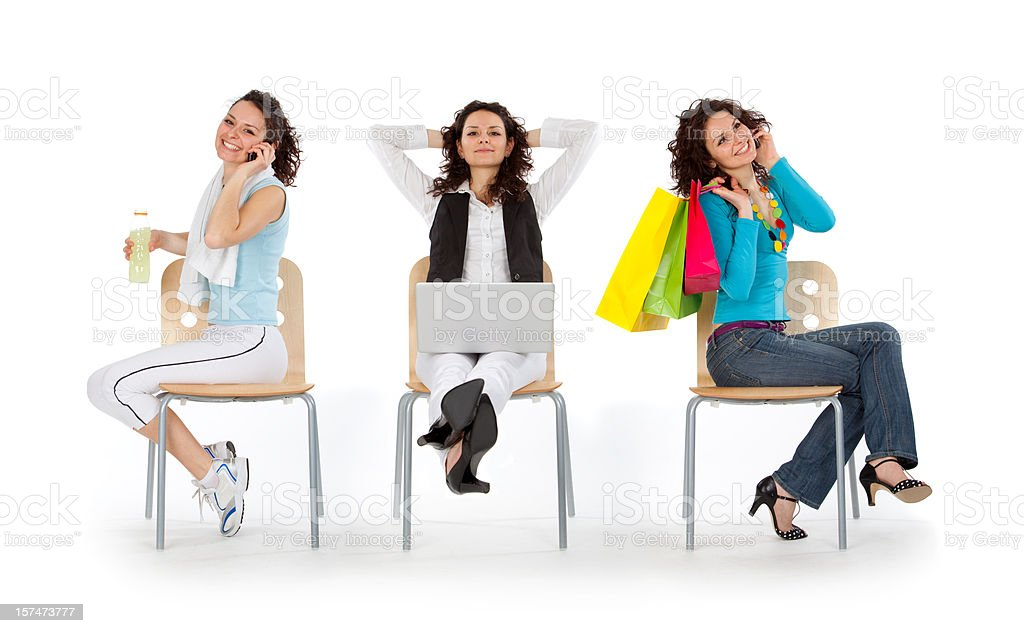 composition young beautiful busy girl work sport shopping life s royalty-free stock photo