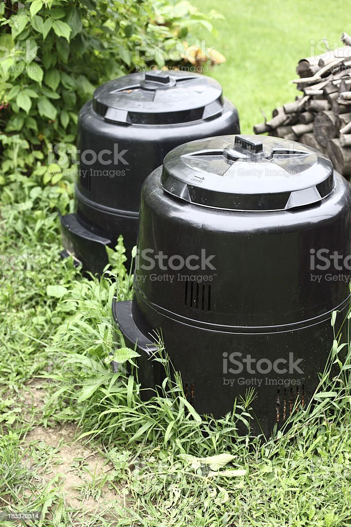 Compost Bins in Back Yard stock photo