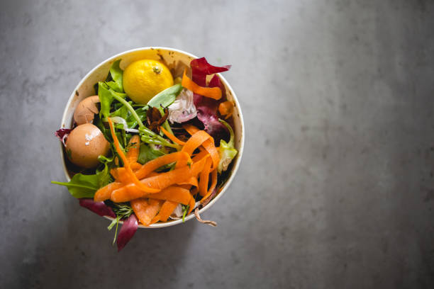 Compost from leftovers, Sustainable and zero waste lifestyle stock photo
