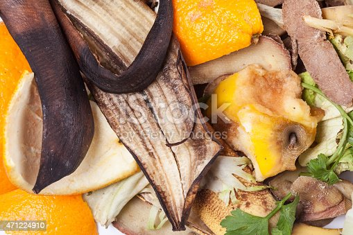 Composting pile of rotting kitchen fruits and vegetable scraps as an environmentally responsible compost that enriches soil in a garden.