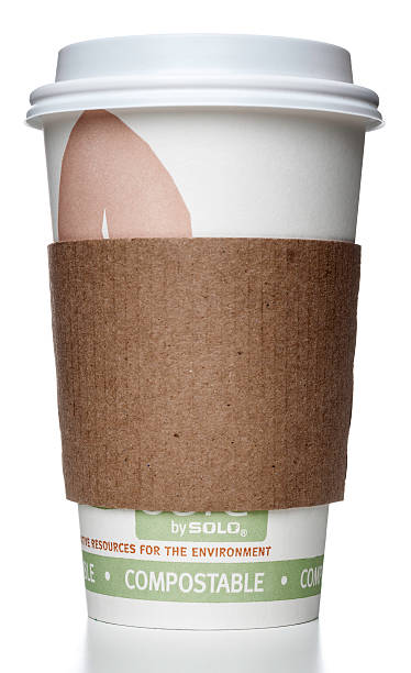 solo compostable cup with holder - bioremediation stock photos and pictures