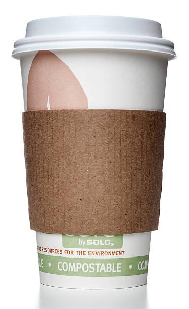 solo compostabile tazza con supporto - biodegradabile foto e immagini stock