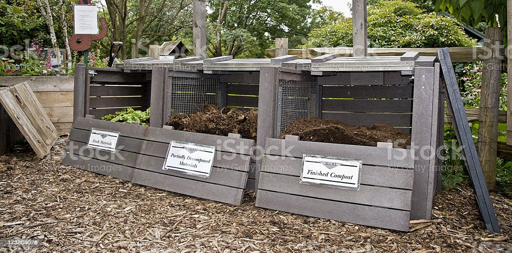 Composting bins stock photo