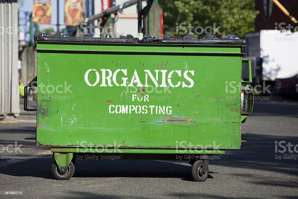 Composting for organic waste industrial Dumpster stock photo