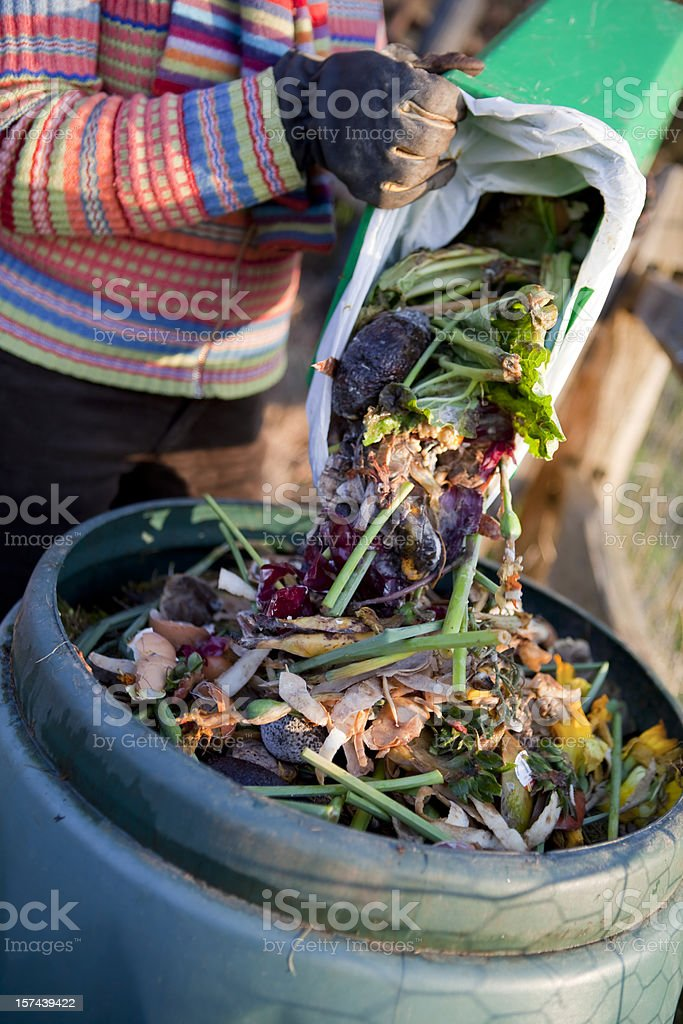 Composting the Kitchen Waste royalty-free stock photo