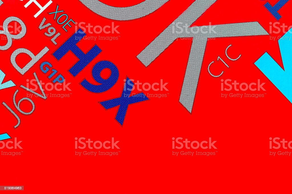 Compostition of letters on red background stock photo