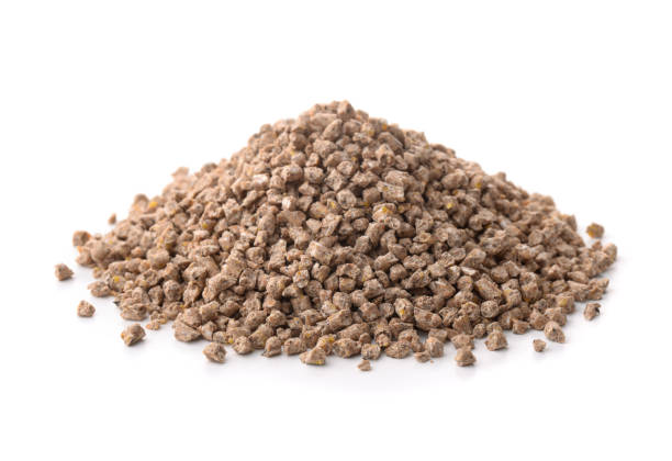 Compound Feed Pile of compound feed pellets isolated on white foraging stock pictures, royalty-free photos & images