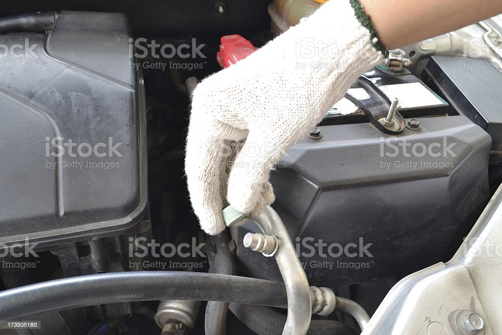 Compressed air car components to be repaired royalty-free stock photo