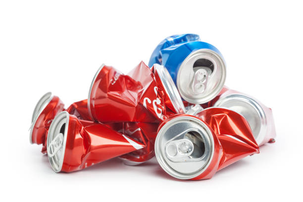 Compressed cans isolated on a white background Compressed cans isolated on a white background crushed stock pictures, royalty-free photos & images