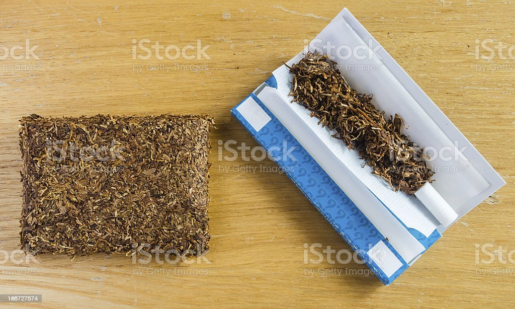 compressed tobacco and rolling equipment royalty-free stock photo