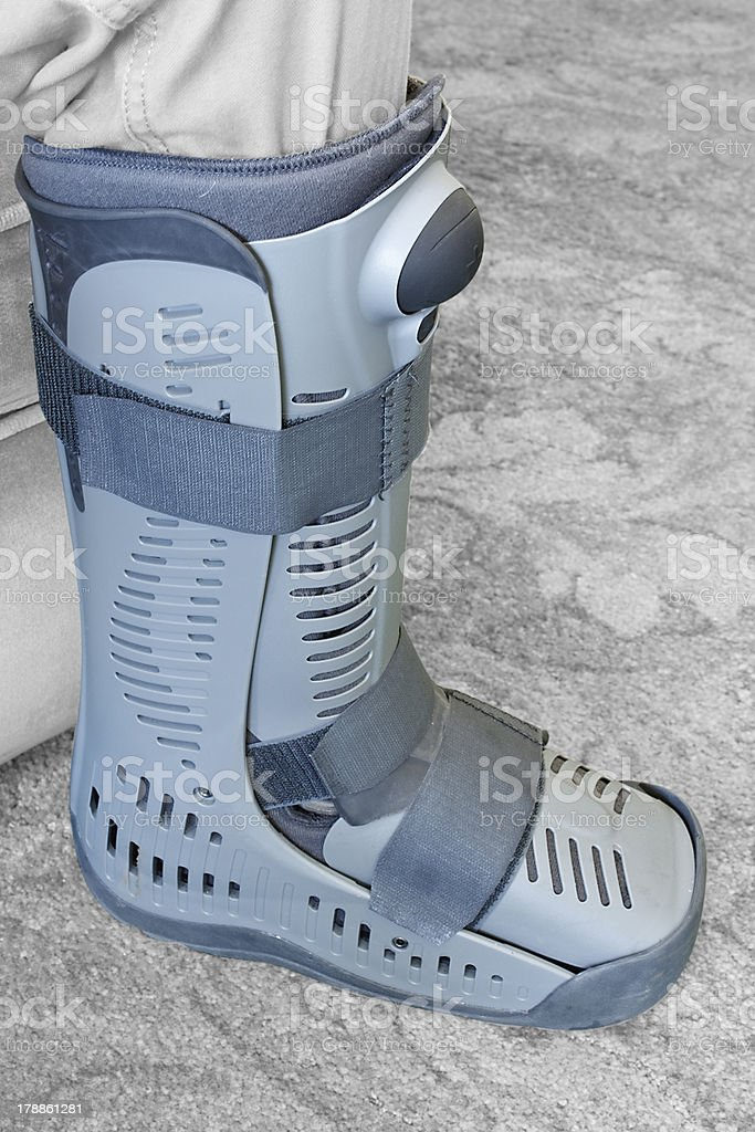 Compression boot or soft cast footwear stock photo