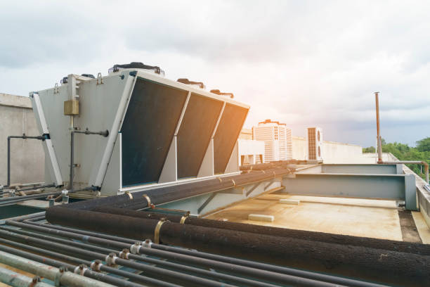 Compressor - Cooling systems on top of the building stock photo
