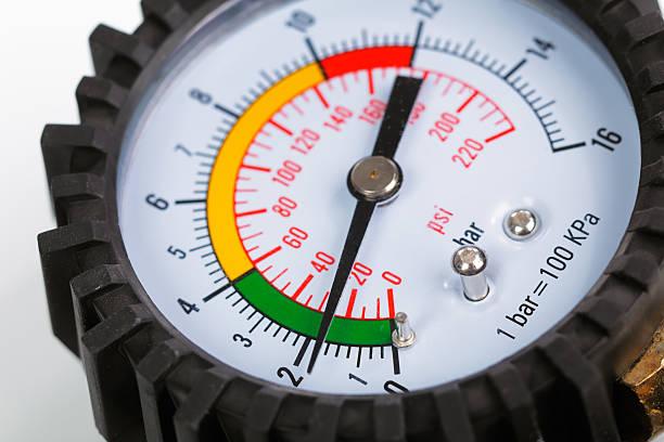 Compressor pressure gauge stock photo