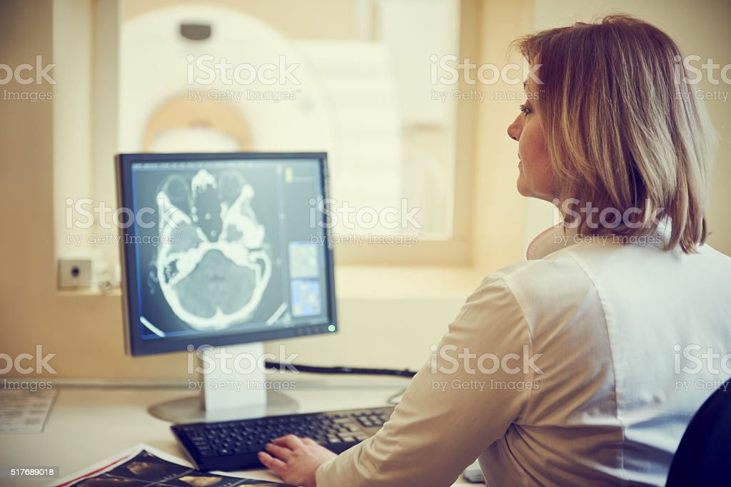 computed tomography or MRI scanner test analysis stock photo