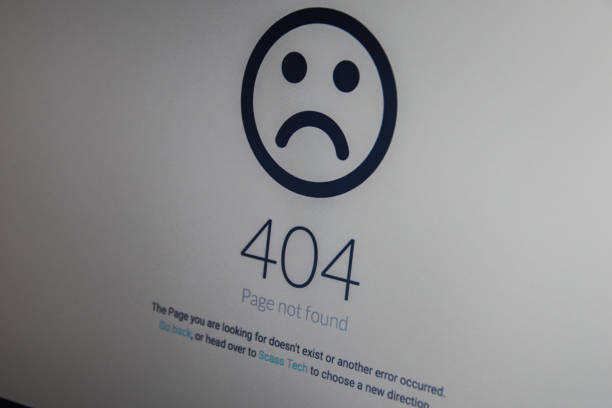 Computer 404 error failure concept. Business laptop or office notebook computer PC stock photo