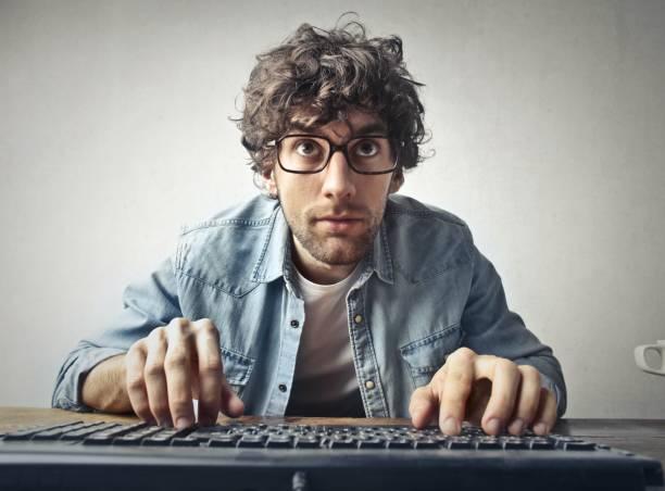 Computer addict stock photo